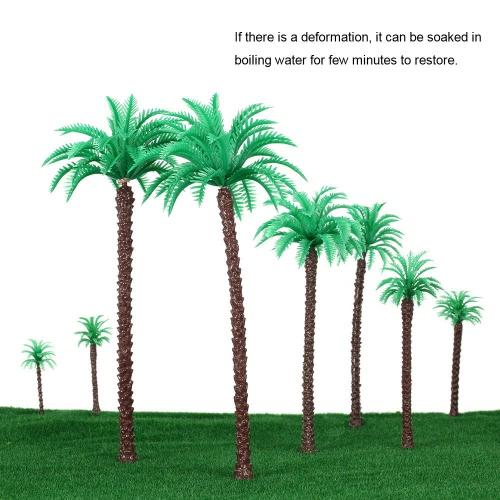 Plastic Coconut Palm Model Trees Architectural Model Railroad Layout Garden Landscape Scenery Doll Weddings Diorama Miniatures 14 Pieces