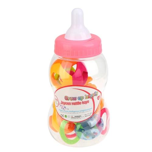 小型哺乳瓶とベビーラトルとおしゃぶり幼児歯が生えるおもちゃセット6個楽しいカラフルな玩具プレイ