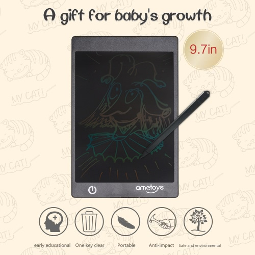Ametoys 9.7-Inch LCD Writing Tablet Drawing Black - Colorful
