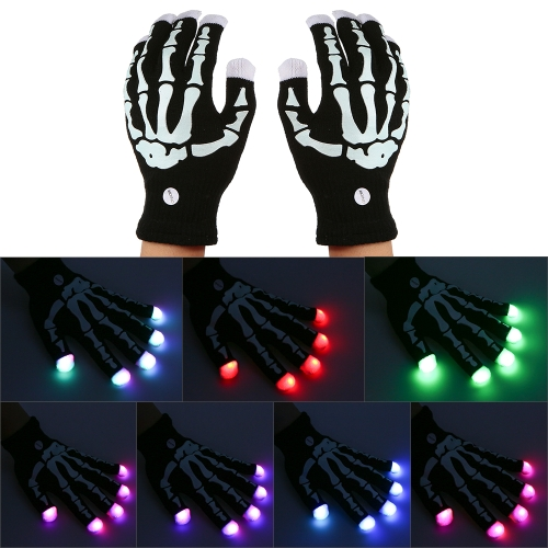 1 Pair Colorful LED Luminous 6 Modes 15 LED lights Gloves