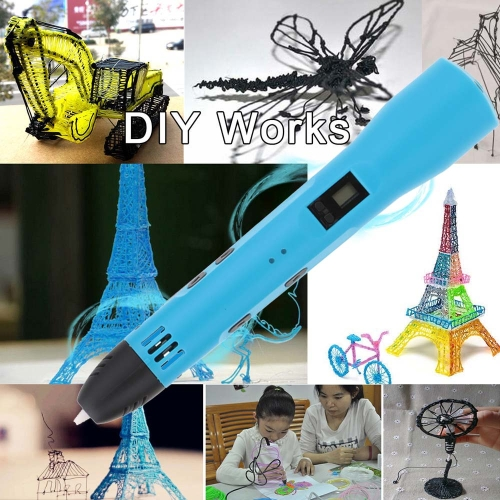 3D Printing Pen Stereoscopic Drawing Doodling Crafting Modeling LCD Screen ABS PLA Printer Filament Material Art Tool Gift Toy DC 5V USB Power Adapter