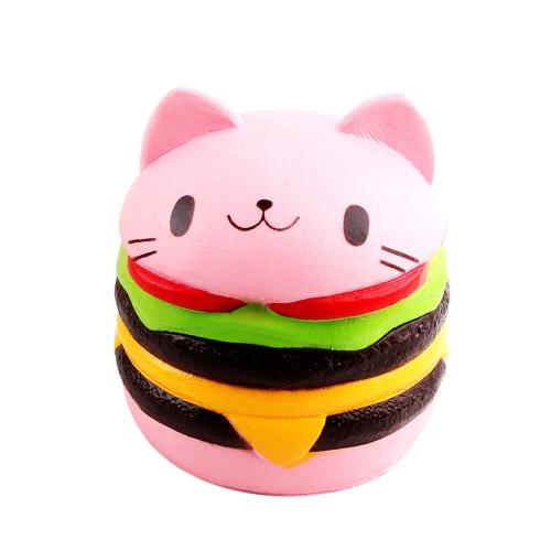 Weiche nette Katze Hamburg Antistress Squishy langsam steigendes Spielzeug-künstliche Simulation entlastet Stress-Spielwaren für Kinder Erwachsene Angst Aufmerksamkeits-Rosa