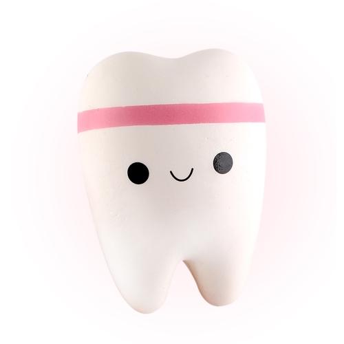 かわいい漫画の歯柔らかいPUスクワッシュ歯のストレスリリーフおもちゃゆっくりと上昇する手かわいいスクイズおもしろいギフトブルー