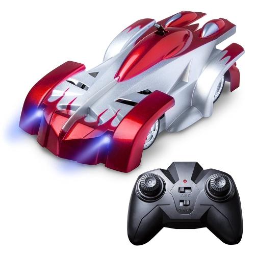RCウォールクライミングレーシングカースポーツクライマーLEDライト付き360°回転スタントおもちゃホーム自動車ミニ重力リモートコントロール車電気ロケットおもちゃクリスマスプレゼント赤