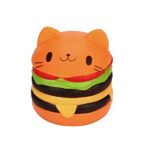 Soft Cute Cat Hamburg Antistress Squishy lento aumento giocattolo simulazione artificiale allevia lo stress giocattoli per bambini ansia adulto attenzione rosa