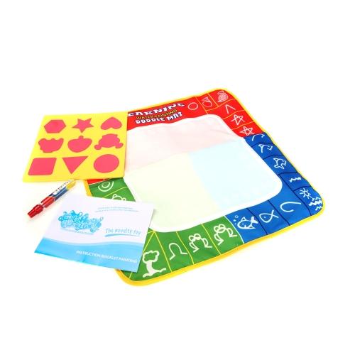 魔法の水を引いて子供マット 1 セット 50 * 50 cm マルチ カラー アクア落書きマット 1 ペン + 1 絵画モデル
