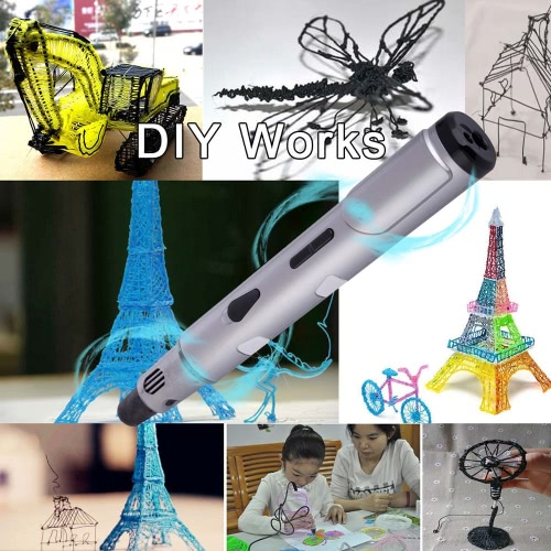 3D Printing Pen Stereoscopic Drawing Doodling Crafting Modeling ABS PLA Printer Filament Material Art Tool Gift Toy with Power Adapter