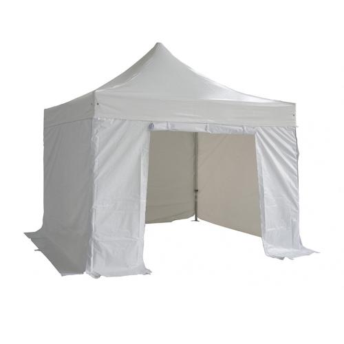 3x3m La Tienda plegable 520g / m² de PVC 50 mm Tubo de aluminio + 4  paño blanco