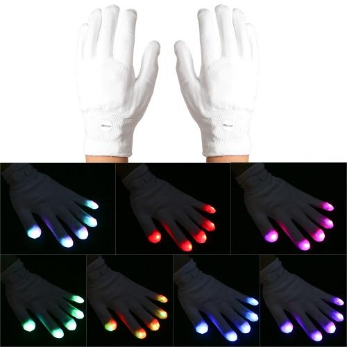 1ペアカラフルなLEDの発光6モード15 LEDライトグローブ
