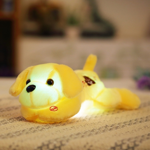 LED Luminous Bunte Glow Nachtlicht Hund Plüsch Kissen Stofftier Tiere Schöne Kissen Weiche Puppe Kinder Kinder Mädchen Geschenk Weiß Stil 1