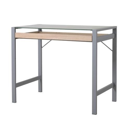 Современный деревянный стальной матовый стеклянный стол для настольных компьютеров с ящиком