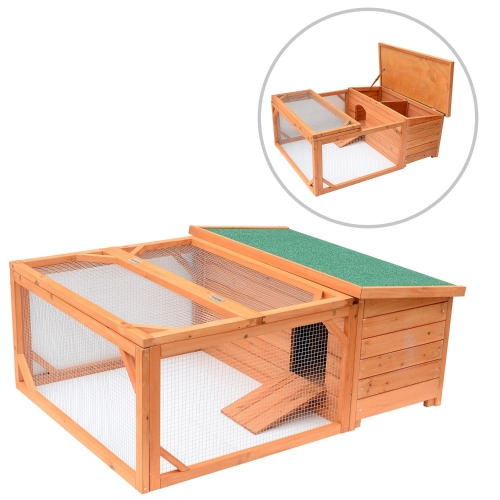 Pawhut Small Wooden Bunny Rabbit & Guinea Pig / Chicken Coop w / Outdoor Run