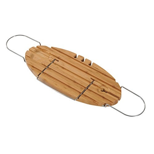 Verstellbarer ovaler Bambus Badewannen Caddy