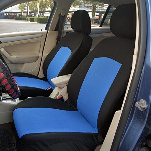 Conjunto de cubierta de asiento automotriz de poliéster HomCom (11 piezas negro / azul)
