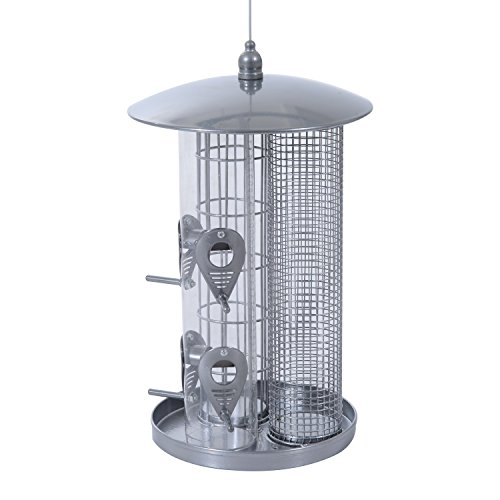 Pawhut Triple Chamber Resistant Outdoor Bird Feeder - Silver
