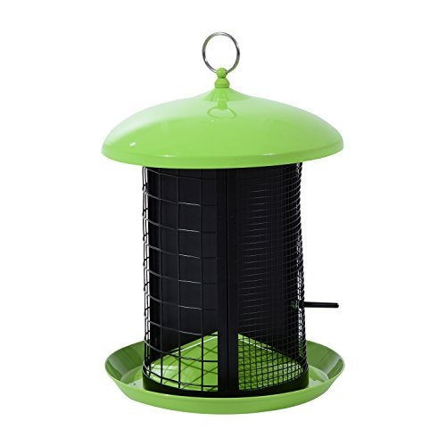 Pawhut Triple Camera Squirrel Resistant Outdoor Bird Feeder - Lime Green / Black