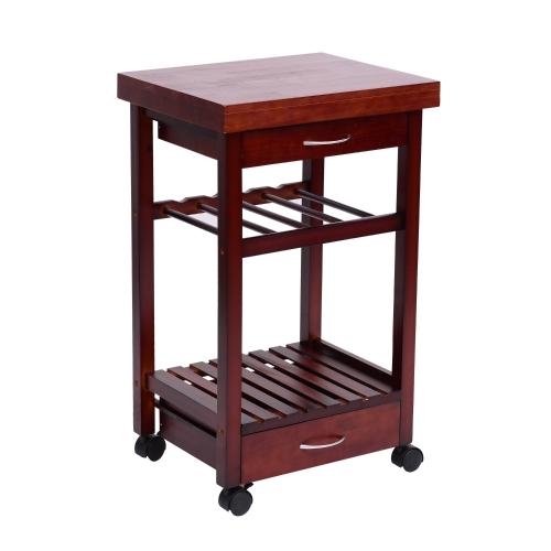 """32 """"Rolling Wooden Storage Cart Кухонная тележка с ящиками и винной стойкой"""