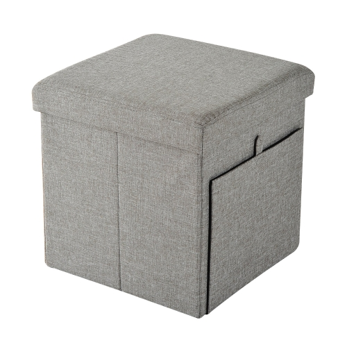 "15"" Folding Side Door Storage Ottoman Bench - Gray/Black"