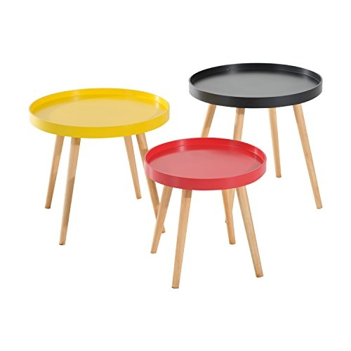 Table d'Appoint Moderne Ronde - Set de 3
