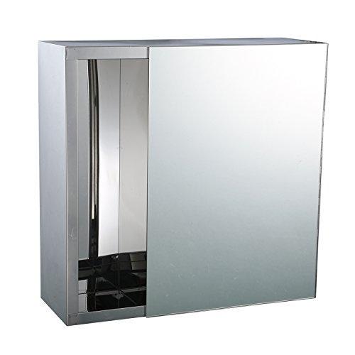 """Espejo de baño de acero inoxidable de 16 """"x 16"""" / Botiquín con dispensador de pañuelos"""
