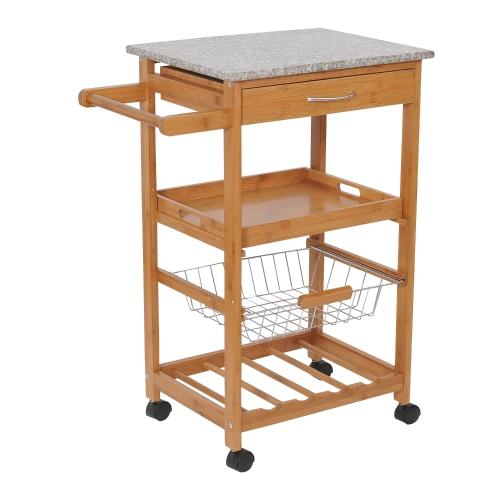 """Carrito de cocina con ruedas enrollables de madera de 31 """"con estante para vinos - Tapa de granito"""