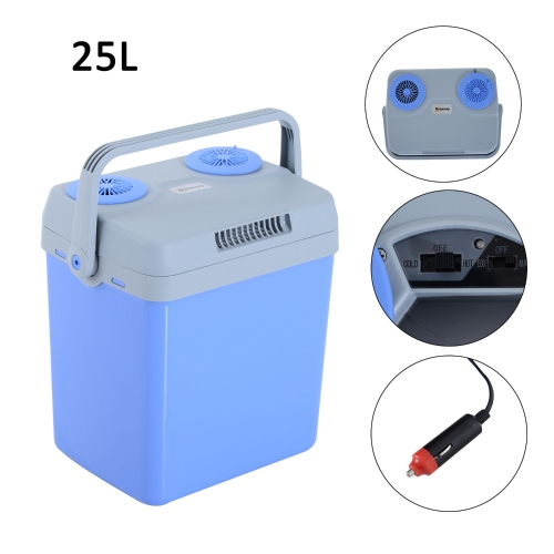 26 Quart 12V AC/DC Thermoelectric Portable Cooler / Warmer w/ Car Adapter - Blue