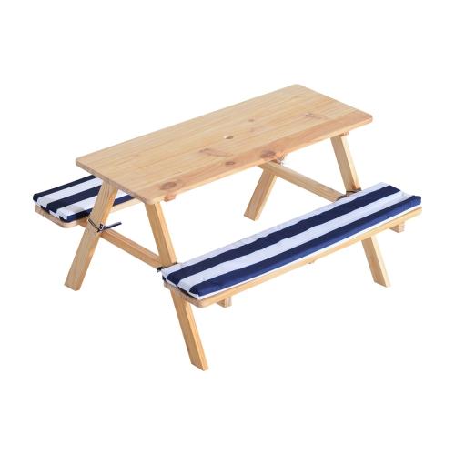 Tavolo da picnic per bambini in legno con panche imbottite