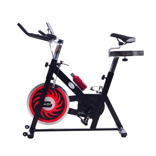 Велосипедный велотренажер для внутреннего использования с ЖК-дисплеем - черный и красный