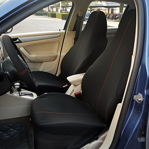 Polyester Automotive Seat Cover Set (12 Piece  Black/Red)