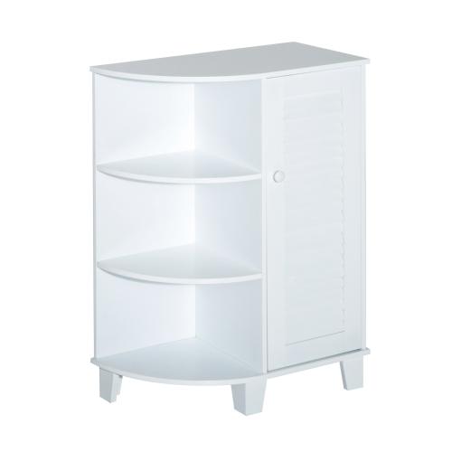 """Gabinete de piso de 32 """"con puerta de persiana y estantes laterales - Blanco"""