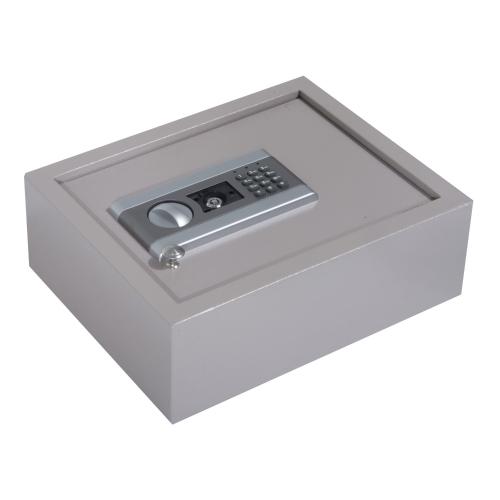 """Coffre à tiroirs avec ouverture supérieure de 15 """"L x 12"""" L x 5 """"H avec serrure à combinaison électronique - Gris"""