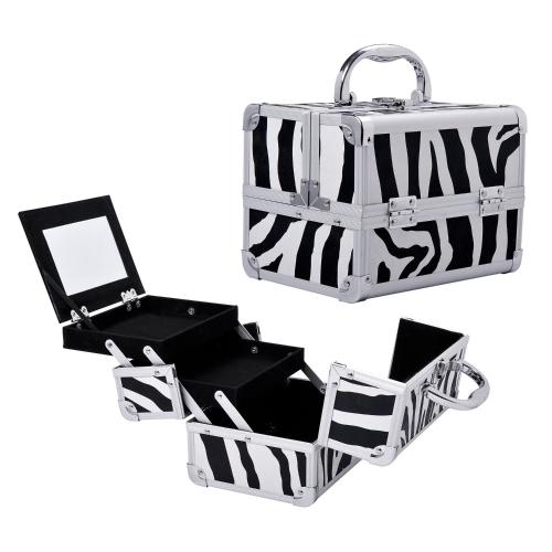 Mini estojo de maquiagem profissional espelhado com bandeja extraível - impressão em zebra