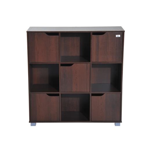 Organisateur d'étagère de rangement pour bibliothèque Cube (9 cubes marron)