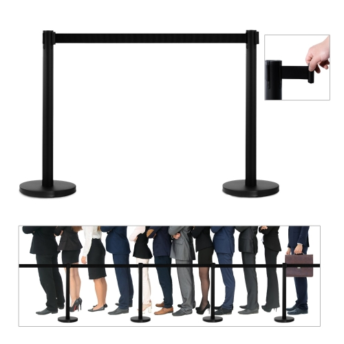 Retractable Crowd Control Stanchion Barrier Posts - Black