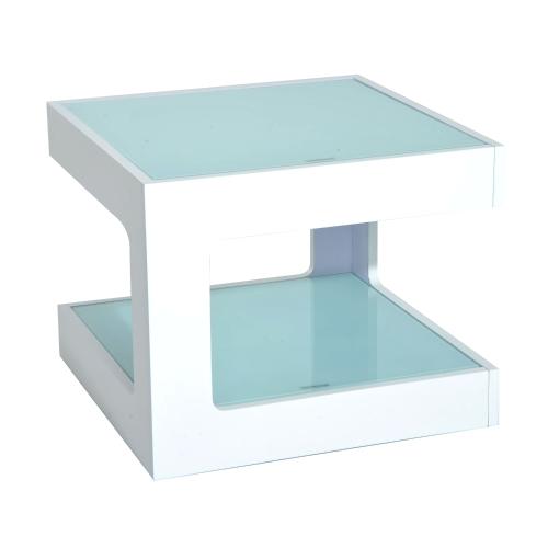 Stół akcentujący Modern Glass Top Cube End Accent - biały