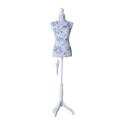 "33 ""x 26"" x 35 ""Mode Schaufensterpuppe LED Lit weiblich Kleid Form w / Base - blau Blumenmuster"