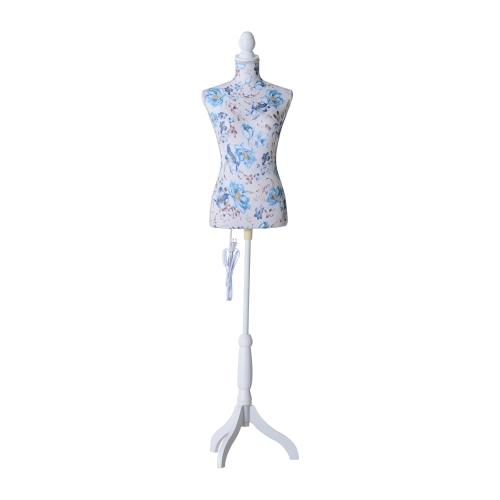 "33 ""x 26"" x 35 ""Moda Mannequin LED Lit Vestido Feminino Forma com Base - Blue Floral Pattern"