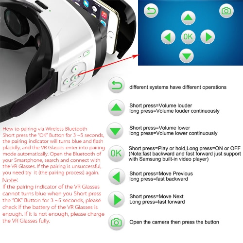 Arealer VR SPACE Virtual Reality Glasses VR Headset 3D Movie VR Games Supports BT 3.0 Self-timer Siri Universal for Android iOS Sm