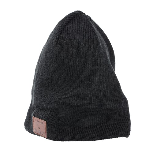 Wireless BT Beanie Headphone Estéreo Music Headset Destacável Winter Hat Capa sem mangas para exercícios esportivos Workout Black