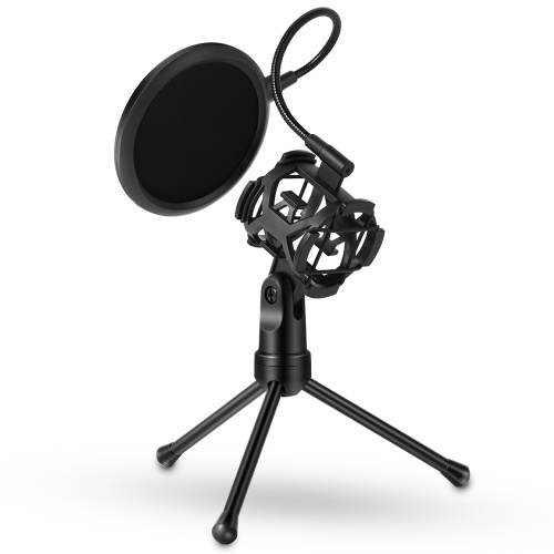 Yanmai Detachable Desktop Microphone Tripod Stand Holder Bracket Supporter with Shock Mount Mic Holder & Dual Layered Wind Pop Screen Pop Filter Mask Shield for Podcast/Broadcast/Chatting/Meetings/Online Conference/Lectures and More