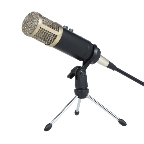 Professional Condenser Microphone with Reverberation Echo Sponge Cover Clip Tripod