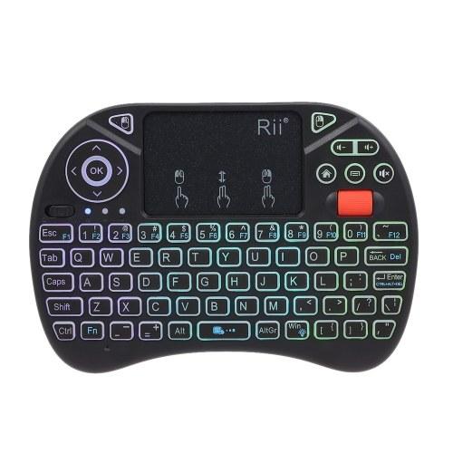 Telecomando senza fili Rii i8X 2.4GHz retroilluminato con tastiera Touchpad Mouse Gaming Remote Control per Android TV BOX Smart TV PC