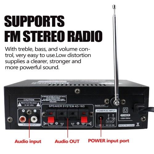 12V/ 220V Mini 2CH LCD Display HIFI Audio Stereo Power Amplifier BT FM Radio Portable Car Home 600W Remote Control Audio Amplifier V5330