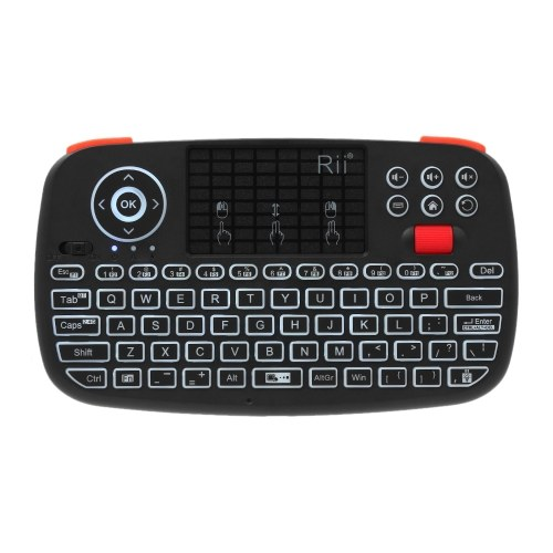 Rii i4 Mini Wireless Keyboard Bluetooth & 2.4GHz Dual Modes Handheld Fingerboard Backlit Mouse Touchpad Remote Control Compatible with Windows / Android