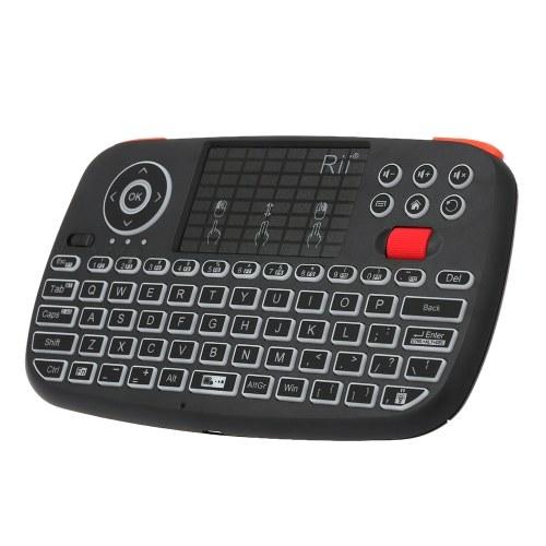 Мини беспроводная клавиатура Rii i4, Bluetooth и 2,4 ГГц, двойной режим, портативный гриф, мышь с подсветкой, сенсорная панель, пульт дистанционного управления, совместимый с Windows / Android
