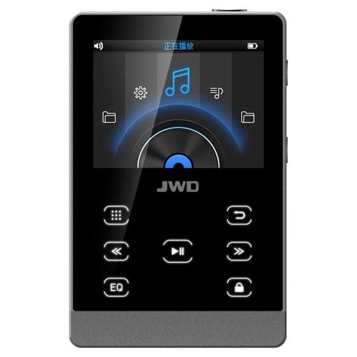 JWD JWM-107 Lecteur MP3 Lecteur de musique HiFi en métal 16 Go DAC APE FLAC WAV Lecteur audio sans lecteur Touche de fonction Bluetooth avec fente pour carte TF Écran de 2,0 pouces