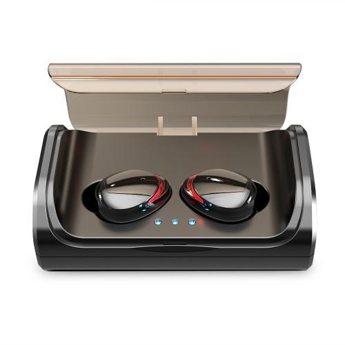 TWS T8 Bluetooth 5.0 Echte drahtlose Kopfhörer In-Ear-Ohrhörer Touch Control Stereo-Kopfhörer IPX6 Wasserdichtes Sport-Headset mit Dual-Mikrofon-Ladekiste