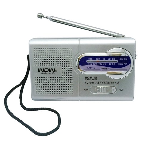 INDIN BC-R119 AM/FM Dual Band Mini Radio Receiver Portable Player Built-in Speaker with a Standard 3.5MM Headphones Jack Silver grey