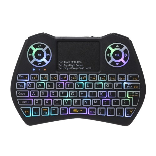 Tastiera wireless retroilluminata a LED RGB 2.4GHz con telecomando mouse touchpad per proiettore TV Android TV BOX
