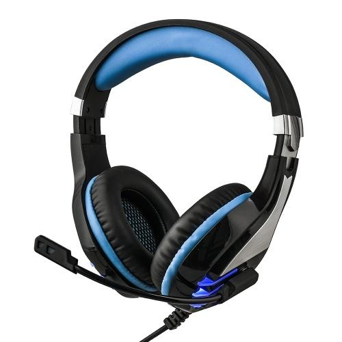 HS063 Spiel Kopfhörer über Ohr Gaming Headset Kabelgebundene Kopfhörer mit Mikrofon Lautstärkeregler LED-Licht Kompatibel mit PS4 Computer Tablet PC-Handys